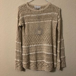 Knox Rose Taupe Sweater With Stripes NWT